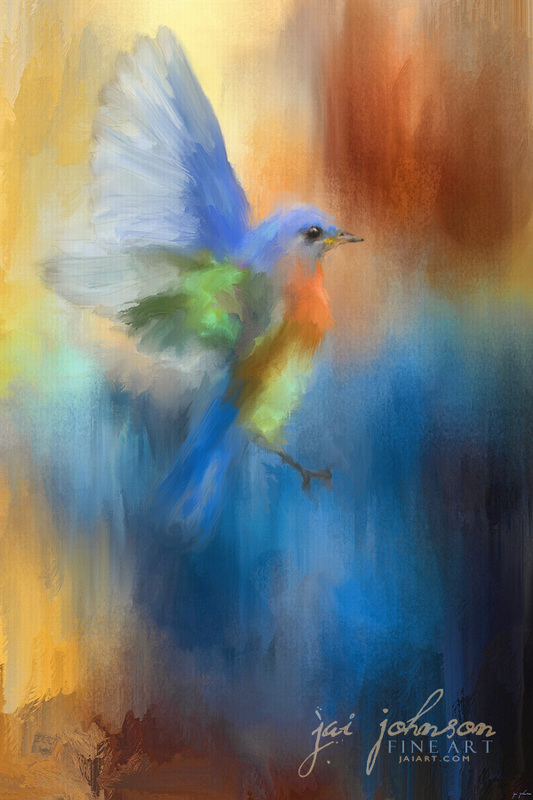 Flight of Fancy Bluebird Painting