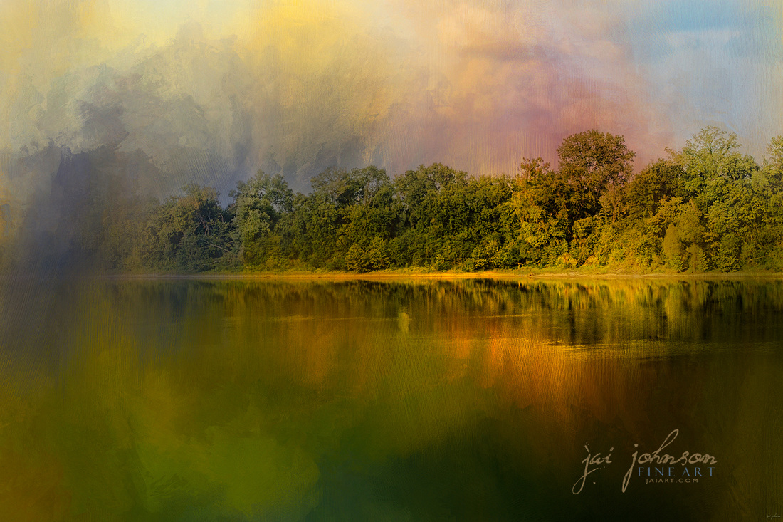 Rainbow of Color At The River - Water Scene