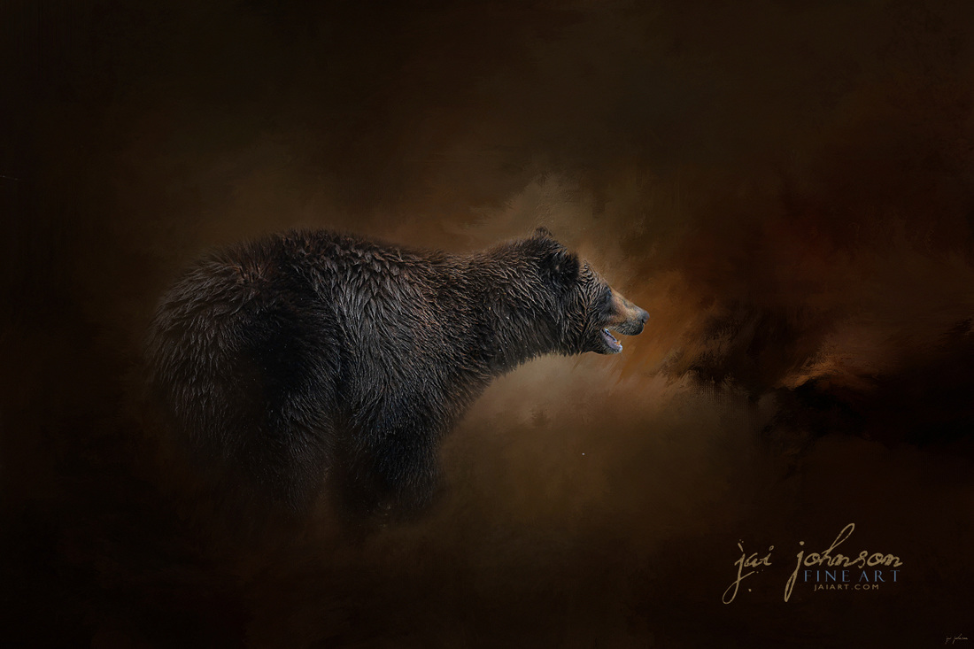 Moonlight Run - Grizzly Bear Art