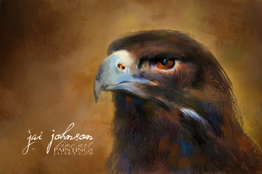 One White Feather - Golden Eagle Painting