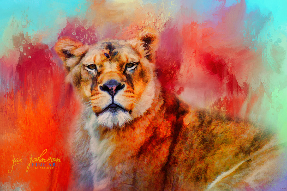 Colorful Expressions Lioness Art